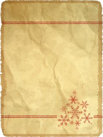 Carta di carta invecchiata e stropicciata con fiocchi di neve