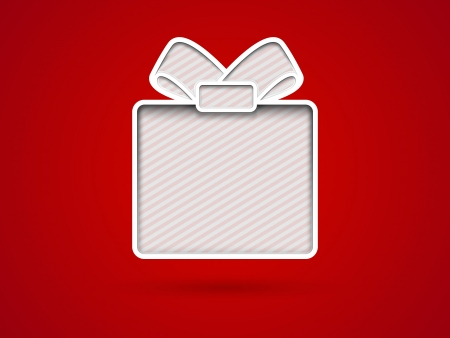 Cut out gift box card on red background Illustration