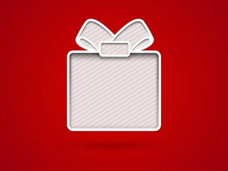 Tagliare scatola di carta regalo su sfondo rosso