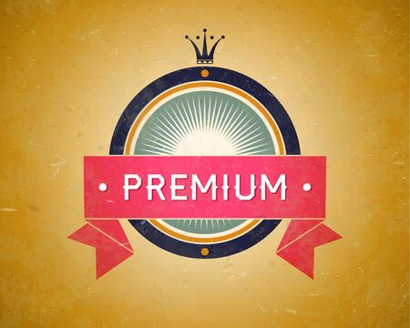 Colorful vintage premium label with ribbon and crown Vector