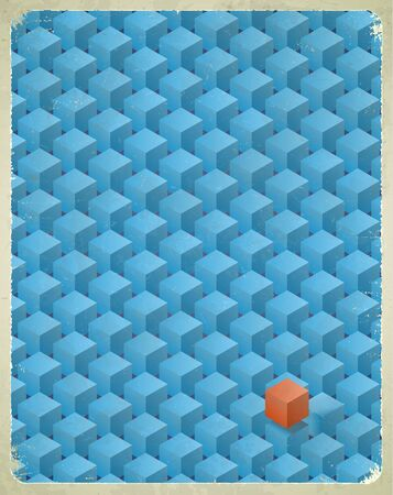 Aged retro card with blue cubes pattern Vector