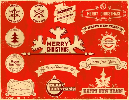 Set of original Christmas themed vintage labels Stock Vector - 16535687