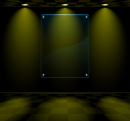dark room: Black lightened room with transparent glass placeholder Illustration
