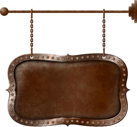 Alte rostige Metall Schild auf den Ketten Illustration