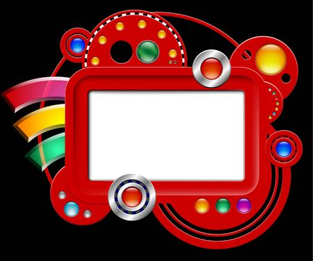 Abstract red interface with screen and buttons Stock Vector - 16703181