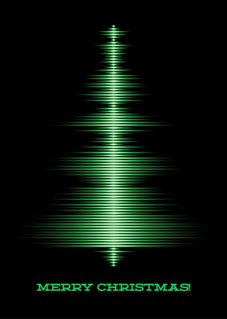 Card with music waveform as christmas tree Vector