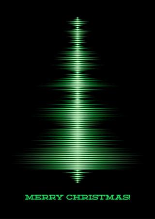 fiestas electronicas: Tarjeta con forma de onda de la música como el árbol de navidad