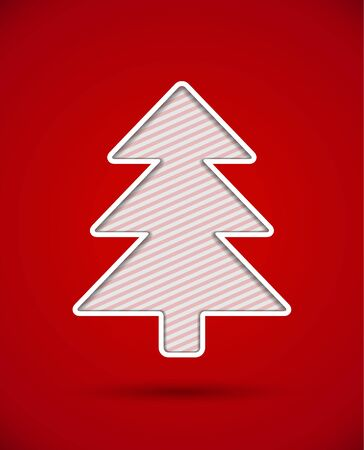 Card with cut out christmas tree silhouette Stock Vector - 16835412