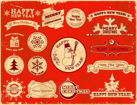 Set of original Christmas themed vintage labels Stock Vector - 16835426