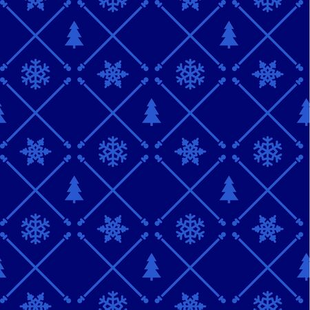 Vintage christmas pattern with snowflakes and trees Vector