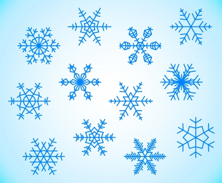 Set of icy cold blue snowflake silhouettes Stock Vector - 16835410
