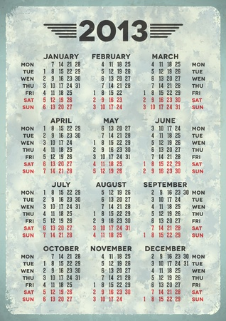 Vintage 2013 calendar on blue aged paper Stock Vector - 16970379