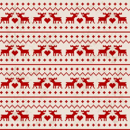 Traditional seamless deer pattern with red heart Vector