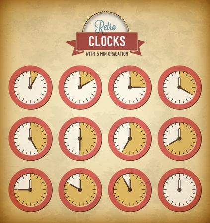 Set of vintage clocks with 5 minutes gradation Vector