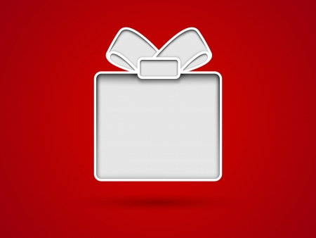 Cut out gift box card on red background 矢量图像
