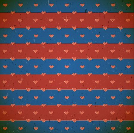 Blue and red cardboard print with hearts Stock Vector - 17338385