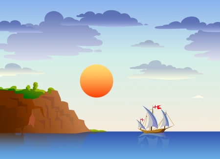 Sea landscape with ship, sun and mountains Stock Vector - 17338375