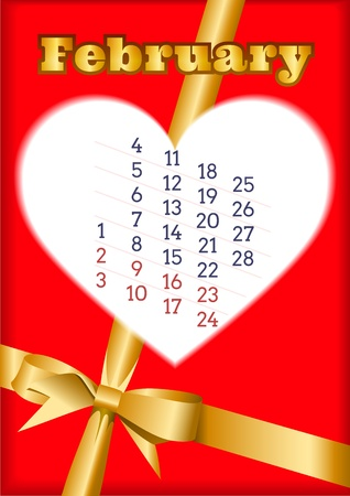 Valentine calendar for February 2013 with heart Vector