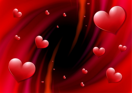 Valentines Day card with abstract vortex and hearts