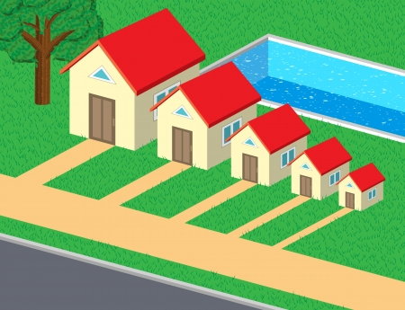 Family of cute houses with pool and lawn Stock Vector - 17628024