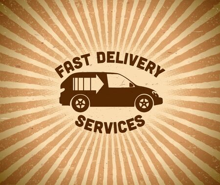 fast delivery: Fast delivery vintage label with car and rays