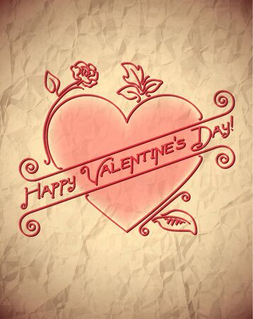 Crumpled vintage Valentines Day card with heart Stock Vector - 17628031
