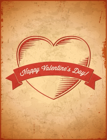 Aged vintage Valentines Day card with ribbon Stock Vector - 17628027