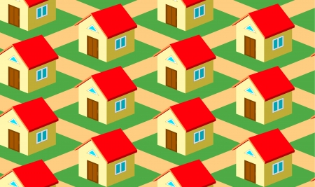 Seamless pattern with houses on the street Vector