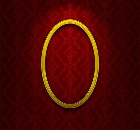 elliptic: Golden elliptic frame on red ornamental wallpaper Illustration