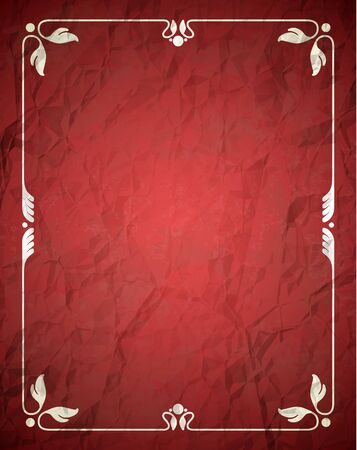 decorative border: Aged crumpled red frame with vintage ornament
