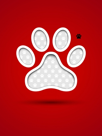 Cut out red card with animal footprint Vector