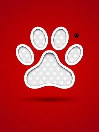 Schneiden Sie rote Karte mit Tier-Fußabdruck