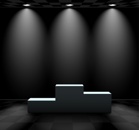 winners podium: Dark room with lights over the pedestal Illustration