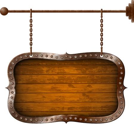 Holz-Schild mit Metall-Felge an den Ketten