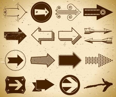 flecha direccion: Conjunto de flechas de moda vintage en papel grungy