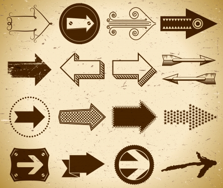 circle arrow: Set of trendy vintage arrows on grungy paper