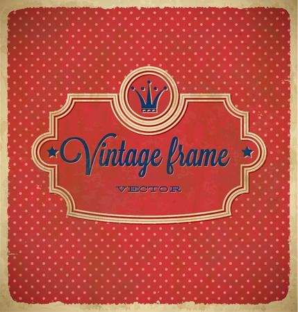 polka dot pattern: Aged vintage polka dot frame with crown