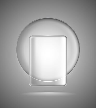 Lightened transparent glass geometric circle and rectangle Vector