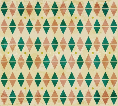 circus background: Seamless aged green and red diamond pattern