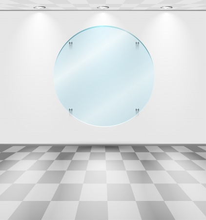 White room with round glass screen placeholder Vector
