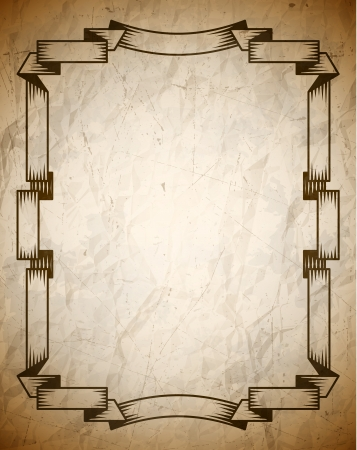 Aged poster with vintage woodcut ribbon frame Vector
