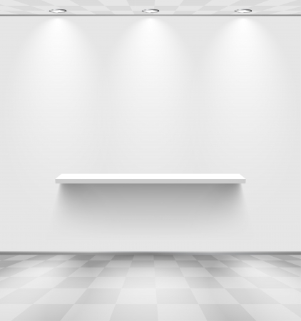 White room with shelf and checkered floor