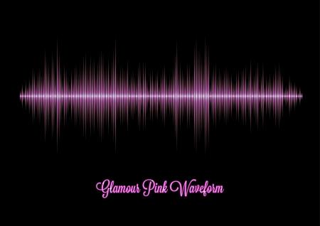 rapero: Forma de onda de la m�sica glamour rosa con picos agudos Vectores