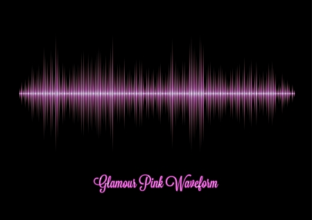 sine wave: Pink glamour music waveform with sharp peaks Illustration