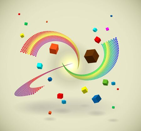 80s styled flying cubes with mosaic lines Vector