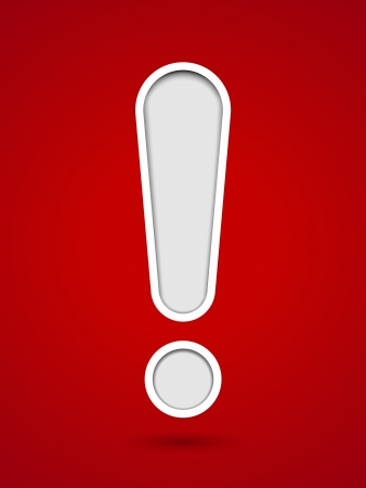 Cut out hole exclamation sign on red background Illustration