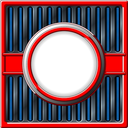 50s styled retro frame with chrome grille Vector
