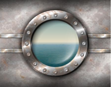submarino: Antiguo ojo de buey oxidado con remaches y marino fuera