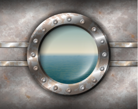 Old rusty porthole with rivets and seascape outside
