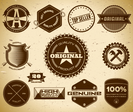 Set of vintage labels on the cardboard. Collection 20 Vector